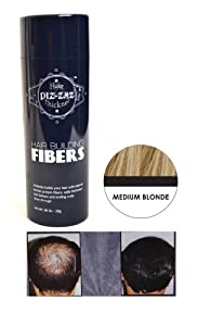 """Piz-zaz Hair Building Fibers All Natural Organic Thickening System Instantly Conceal Balding  0.98 oz in """"Medium Blonde"""""""