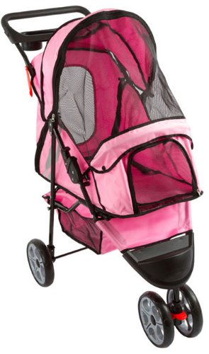 Pink 3-Wheel Trail Terrain Pet Stroller Jogger front-844092