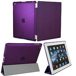 KHOMO ® DUAL CASE: Purple Smart Cover FRONT + Purple Crystal Rubberized Back Protector for Apple iPad 2 , iPad 3 & iPad 4 (The new iPad HD)
