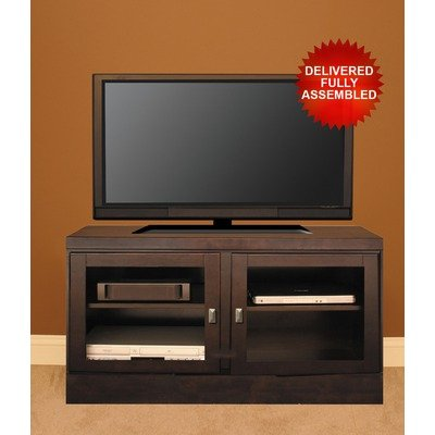 Cheap 48″ TV Stand with Contemporary Handles in Mocha Doors: Frosted Tempered Glass (60148CF0)