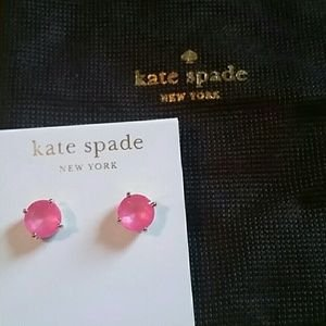 Kate Spade New York Cueva Rosa Crystal Large Round Pink Stud Earrings