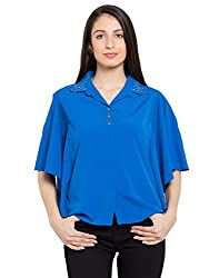 TARAMA Cobalt Blue color Dull Crepe fabric Solid Shirt for womens
