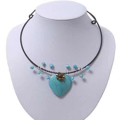 Romantic Turquoise 'Heart' Flex Choker Necklace - Adjustable