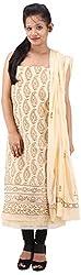 RV's Collection Women's Cotton Unstitched Salwar Suit Piece (Cream Color, RB-26)