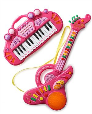 Kids Authority Keyboard and Guitar Set - Bundle Gift boxed - Pink