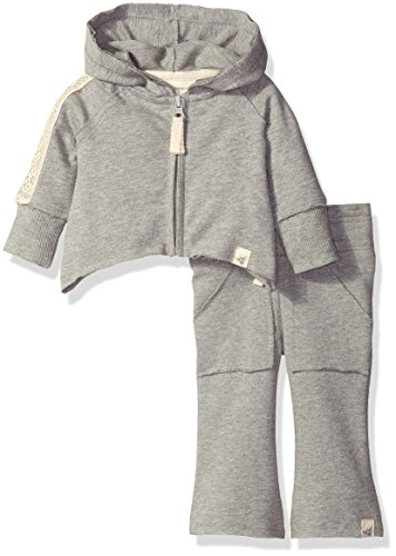 Burt's Bees Baby Girls' Crochet-Back French Terry Hoodie + Pant Set, Heather Grey, 12 Months