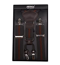 JIERKU Brown Suspenders for Men Brace Young Mens Suspenders Coffee Stripe 2