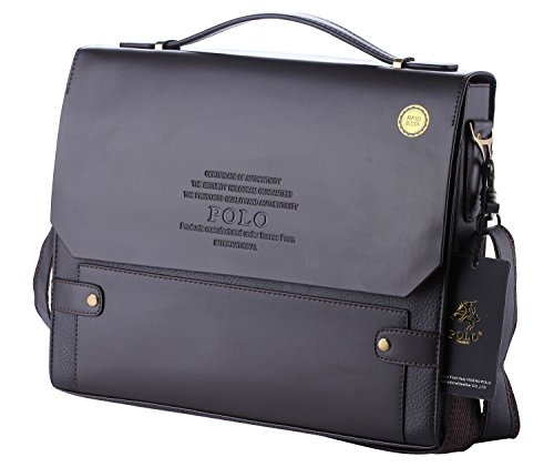 POLO VIDENG M336 Top Leather RFID Block Briefcase Shoulder Messenger Business Bag From Italy Design (Ch-brown) (Ch Men Polo compare prices)
