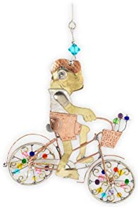 Pilgrim Imports Biking Toad Metal Fair Trade Ornament