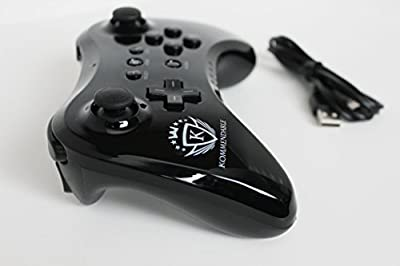 Wii U Pro Wireless and Rechargeable Controller (Midnight Black) Includes Charging Cable by Kommendable