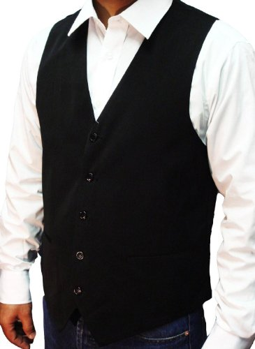 NEW MEN'S BLACK WAISTCOAT SUPERB HIGH STREET QUALITY + FREE BLACK TIE, Size-Large 42