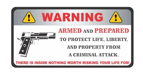 Warning Owner is Armed ammo gun shotgun bullet rifle vinyl bumper sticker decal (Owner Armed compare prices)