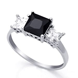 Rhodium Plated Sterling Silver Wedding & Engagement Ring black, Clear CZ 3 Stones Ring 7MM ( Size 4 to 9) from Double Accent