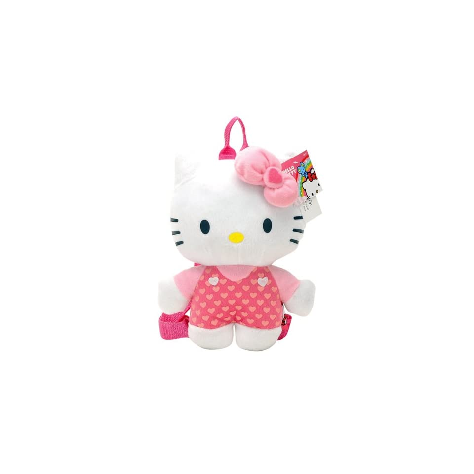 Sanrio Hello Kitty Classic Plush Hello Kitty with Polky Dot Overall Style Backpack