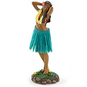 KC Hawaii Lelani Dashboard Hula Doll Flower Placing Pose / Green