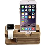 Apple Watch Stand, Jelly CombTM [Charging Dock] Bamboo Wood Charge Station for Apple Watch & iPhone - Fits iPhone Models: 5 / 5S / 5C / 6 / 6 PLUS and both 42mm & 38mm sizes of 2015 Watch Models