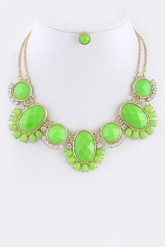 Baubles & Co Tribal Gem Floral Necklace Set (Neon Green)