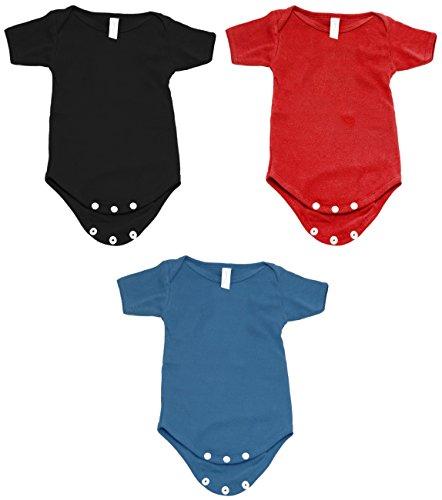 Mato & Hash Unisex Baby 100% Cotton One Piece Lap Shoulder Onesie Black/Red/S.Blue CA165 3-6M