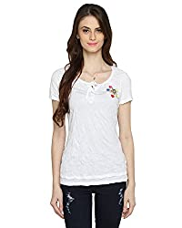 Bedazzle Casual Shortsleeve Women's White Top