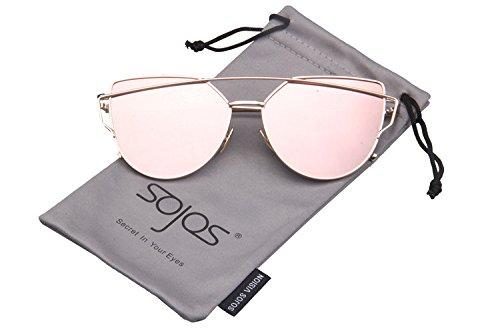 SojoS SJ1001 Cat Eye Mirrored Flat Lenses Street Fashion Metal Frame Women Sunglasse