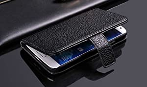 CaseMore 100% Genuine Leather Wallet Case for Samsung Galaxy S4 S IV i9500 with Stand