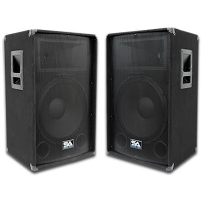 "Seismic Audio - Pair of 12"" PA DJ Speakers 600 Watts PRO Audio - Mains, Monitors, Bands, Karaoke, Churches, Weddings"