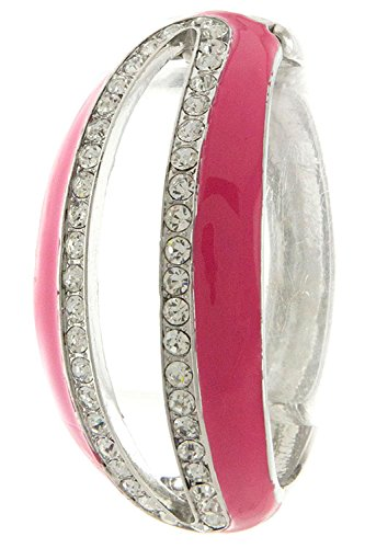 Trendy Fashion Jewelry Metal Centered Slot Open Bracelet By Fashion Destination | (Pink)