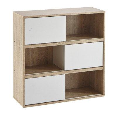 Demeyere 211513 Slide Regal mit 3 weißen Schiebetüren aus Spanplatten dekoriert, Breite 78,5 x 78,5 x 30 cm, Korpus in eiche