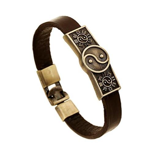 Gnzoe-HerrenDamen-PU-Leder-Armband-Korn-Armband-Taiji-Yin-Yang-Of-Chinese-Retro-Lederarmband-Partnerarmbnder-Braun
