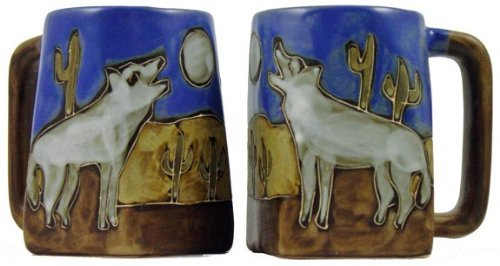One (1) Mara Stoneware Collection - 12 Oz Coffee Cup Collectible Square Bottom Mug - Howling Wolves / Desert Design
