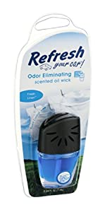 Refresh Your Car! Odor Eliminating Scented Oil Wick Fresh Linen .23 OZ (Pack of 12)