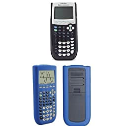 Texas Instruments TI-84 Plus Graphing Calculator with Guerrilla Silicone Case (Blue)
