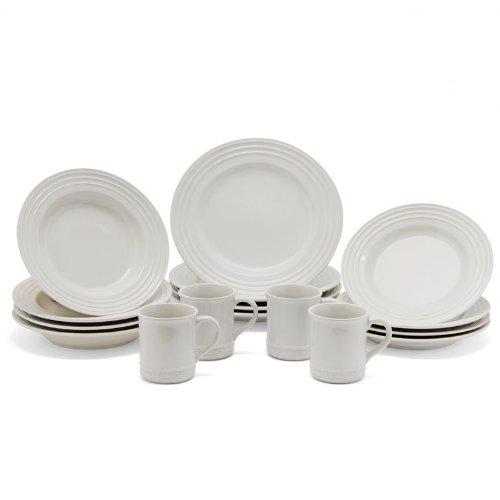 Le Creuset Stoneware 16-Piece Dinnerware Set, White