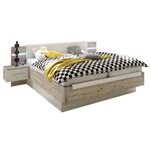Doppelbett-FLORA-180x200-cm-in-Sandeicheweiss-Bett-Bettanlage-mit-2-Nachtkommoden-Polsterkopfteil-und-LED-Beleuchtung