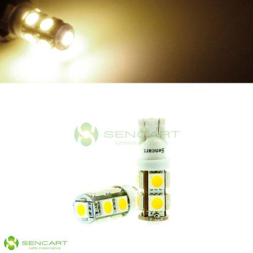 2X T10 9-Smd 5050 Led Warm White Lights 3000K 1.8W Dc 12V Car Trunk Door License Plate Light Bulbs