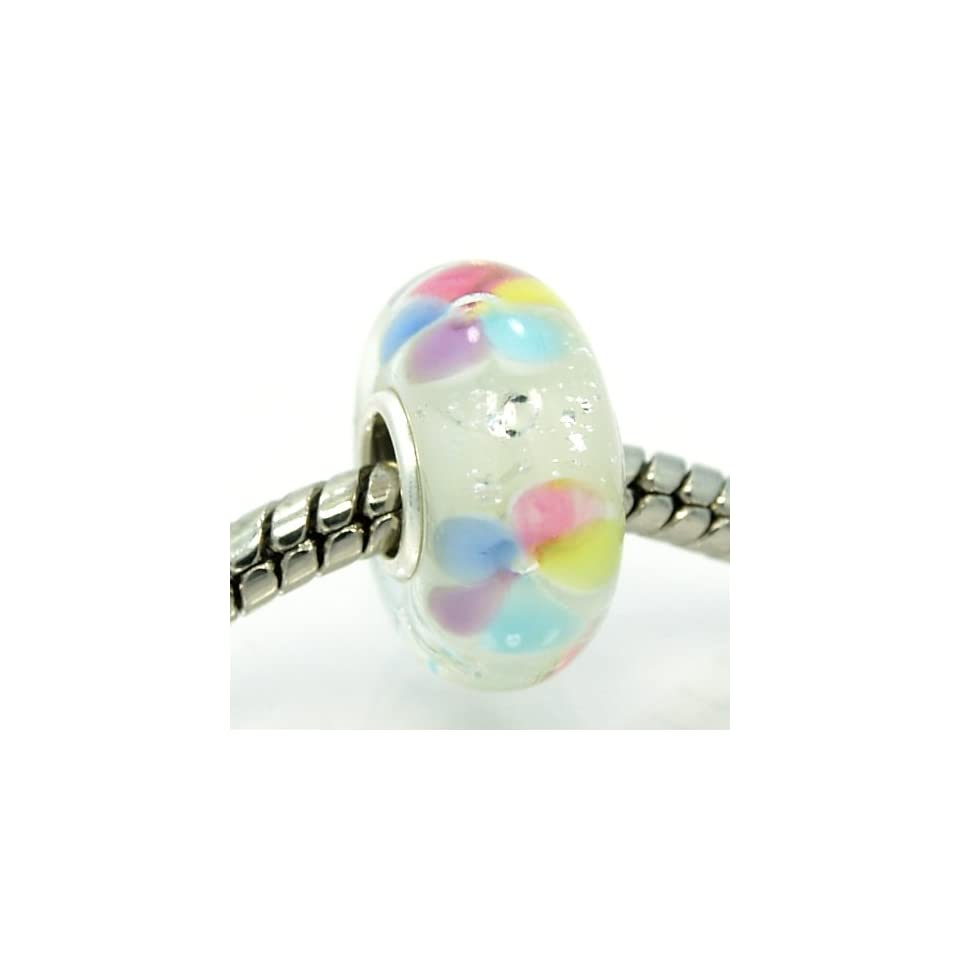 Pro Jewelry .925 Sterling Silver Glass Multicolor Pastel Flowers w/ Crystal Encased in Glass Charm Bead for Snake Chain Charm Bracelets 5132