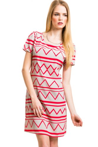 Zig Zag Zip Dress In Grey/Red