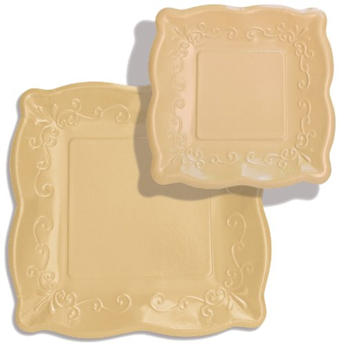 "Elise Scalloped Embossed 10"" Square Premium Paper Banquet Plates, 8-Count, Buttercream - 1"