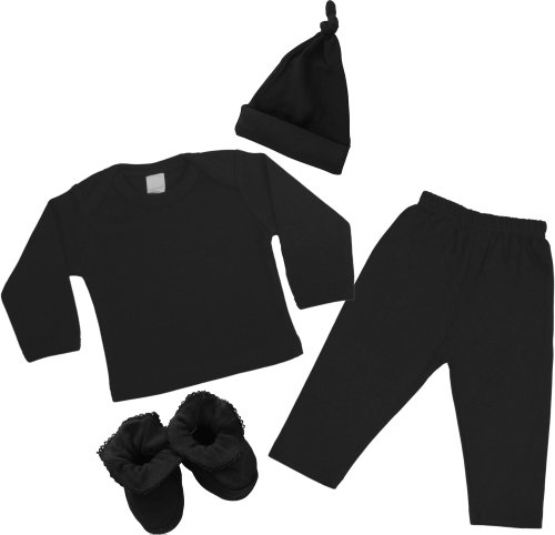 4 Pc Baby Outfit - Black - For Boy Or Girll - Long front-820680