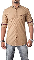 Passion Men's Slim Fit Casual Shirt (FS5087XLBRFS, Brown, X-Large)
