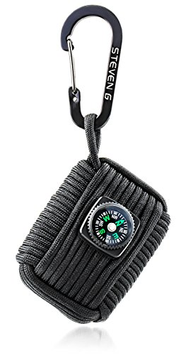 STEVEN G Professional Emergency Paracord Survival Grenade Kit with 12 Tools Including Compass, Fire Starter, Sharp Eye Knife, Tin Foil,