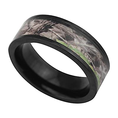 7mm Light Weight Black Flat Titanium Wedding Bands with Desert and Green Camouflage Inlay Comfort Fit Promise Engagement Matching Rings for Couples Holiday Birthday Gift for Boyfriend Girlfriend