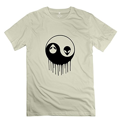 Zya6W Men Alien Yin Yang 100% Cotton Funny T Shirt Natural Xs