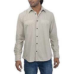 Inego Men's Casual Shirt (Beige )