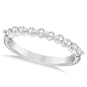 Allurez Women's Filigree Designer Diamond Wedding Band Single Shared Prong Platinum 0.30ct 13.75