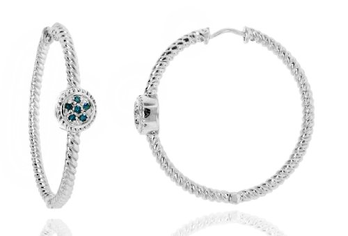 Sterling Silver 925 Genuine Blue Diamond Accents .12cts (Color H-I, Clarity I3) Circular Station Twisted Rope Round Hoop Earrings - 40mm