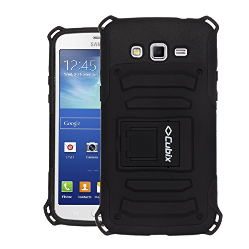 Samsung Galaxy Grand 2 G7102 Case Cover : [Cubix] Armor Jacket Series Dual Layer Hybrid Shock Proof Kickstand Case Cover for Samsung Galaxy Grand 2 G7102 (Black)