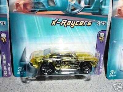 Mattel Hot Wheels 2005 First Editions 1:64 Scale X-Raycers Clear Yellow 1969 Chevelle Die Cast Car #056 - 1