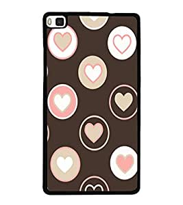 Hearts 2D Hard Polycarbonate Designer Back Case Cover for Huawei P8