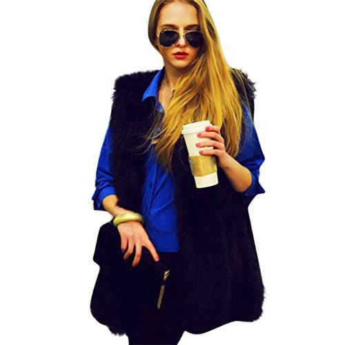 HANYI Women Faux Fur Ladies Sleeveless Vest Waistcoat Jacket Gilet Shrug Coat Outwear (XXL, Black)